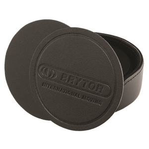 Round Black Bonded Leather Coaster - Set of 8